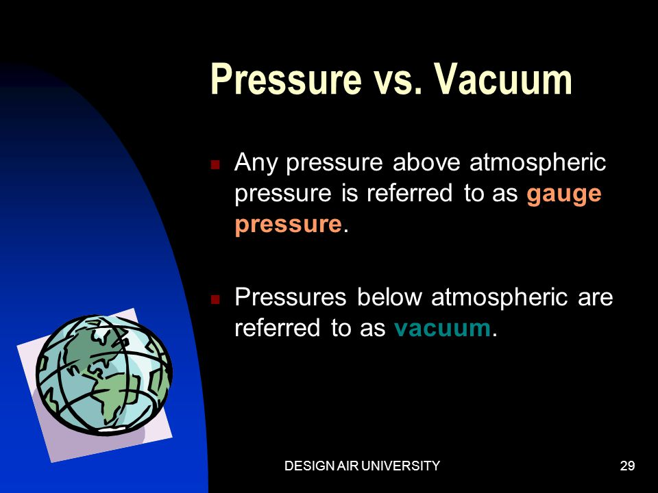 Pressure vs. Vacuum Any pressure above atmospheric pressure is referred to as gauge pressure. Pressures below atmospheric are referred to as vacuum.