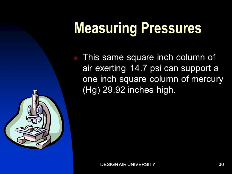 Measuring Pressures This same square inch column of air exerting 14.7 psi can support a one inch square column of mercury (Hg) 29.92 inches high.