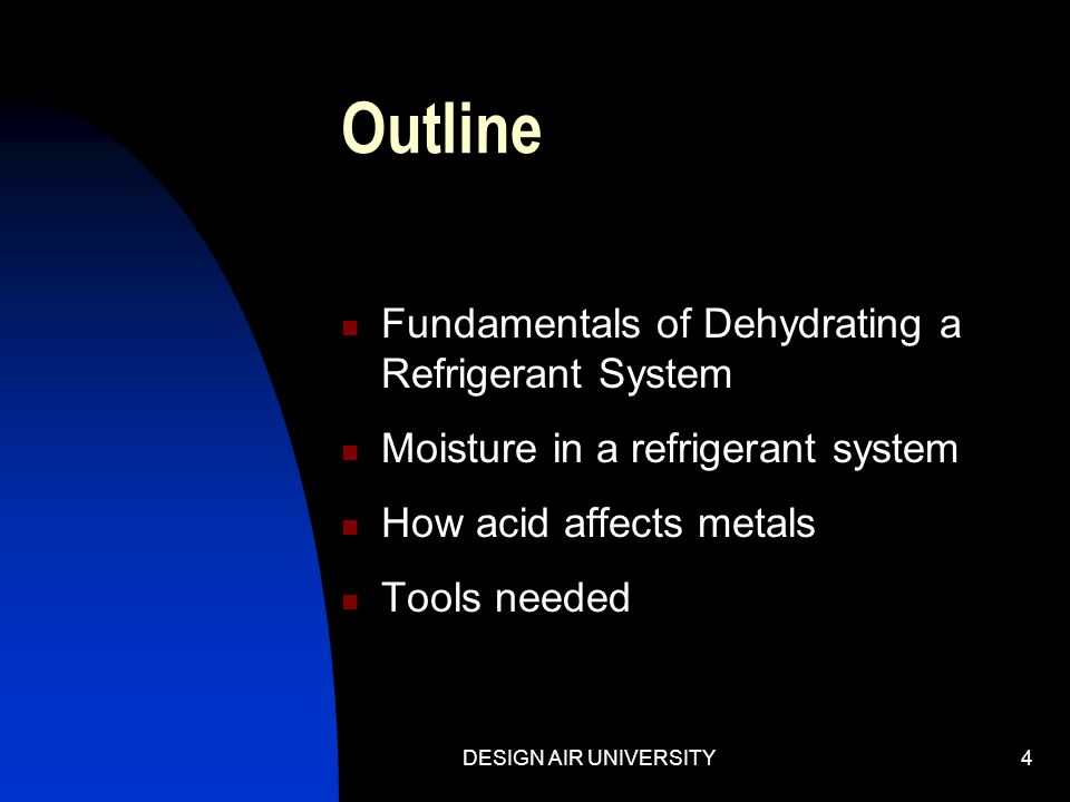 Outline Fundamentals of Dehydrating a Refrigerant System