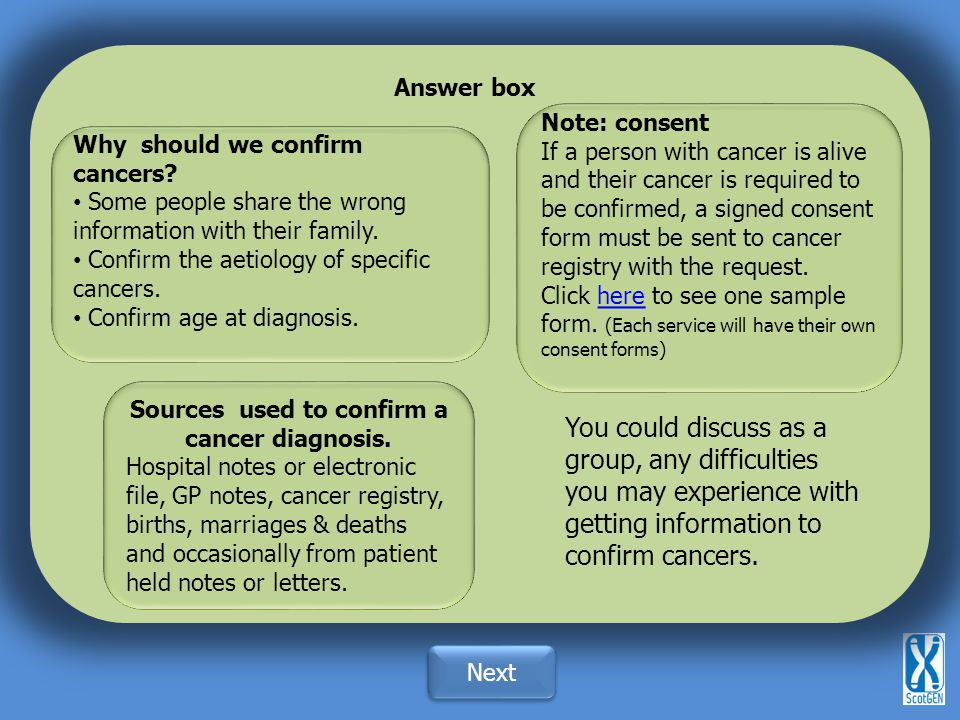 Sources used to confirm a cancer diagnosis.