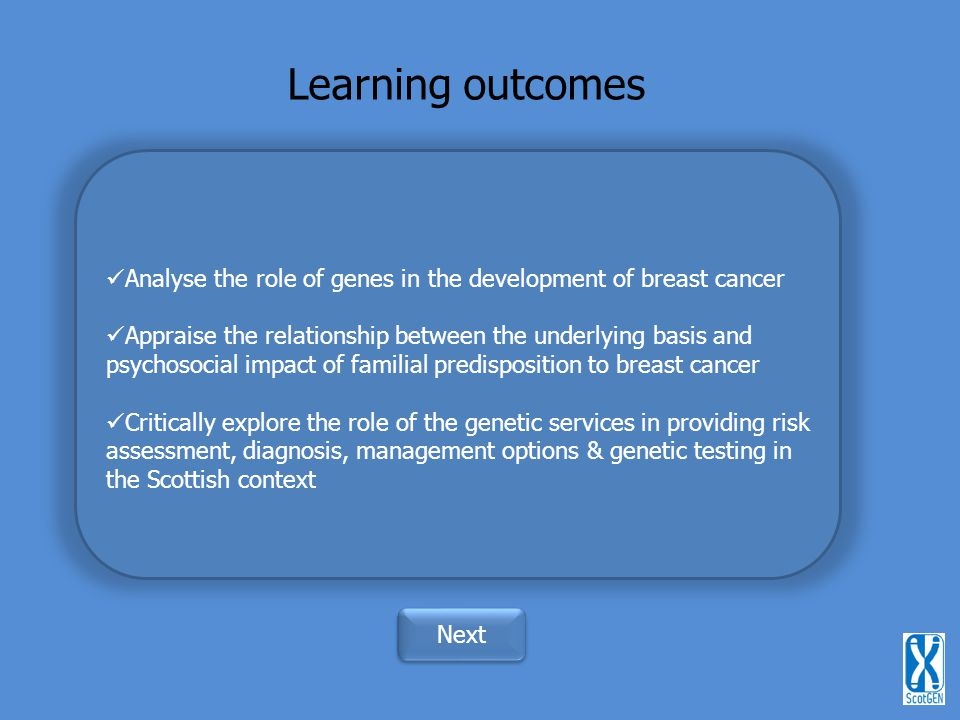 Learning outcomes Analyse the role of genes in the development of breast cancer.