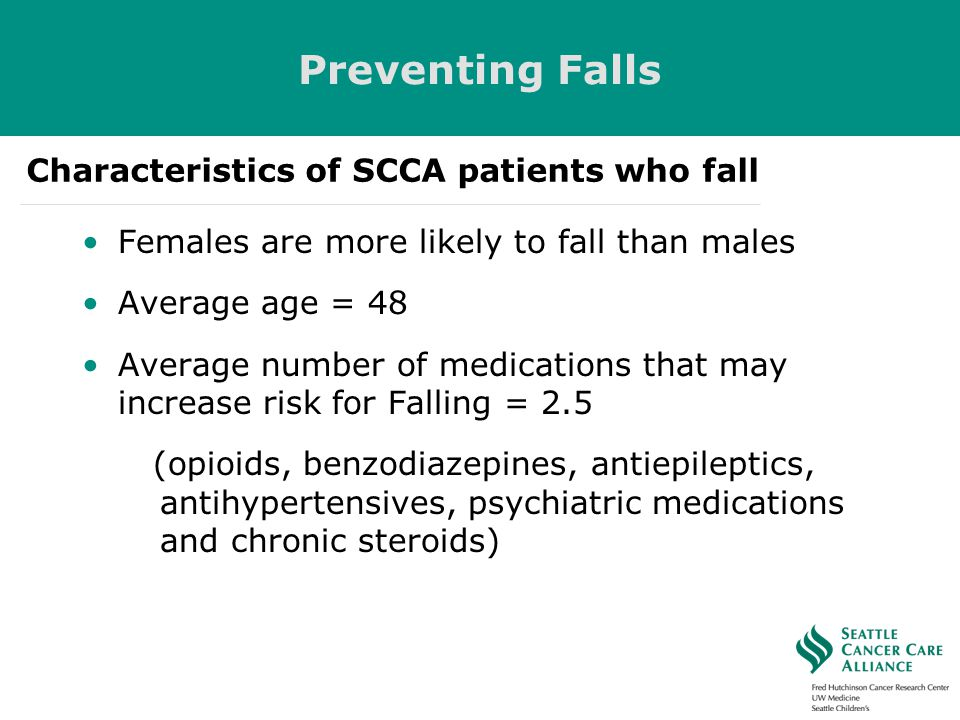 Preventing Falls Characteristics of SCCA patients who fall