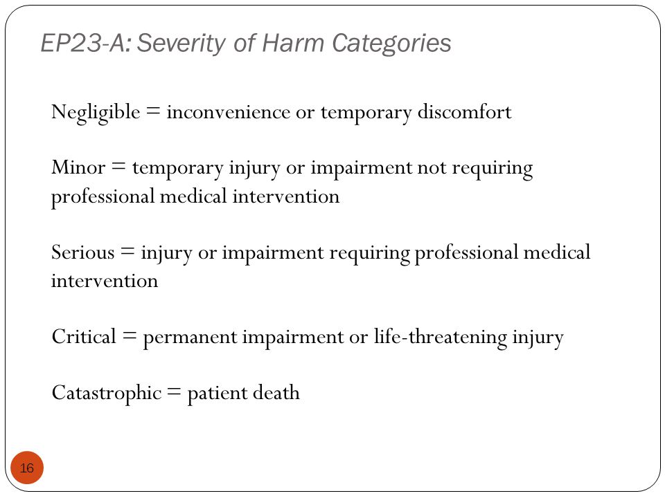 EP23-A: Severity of Harm Categories