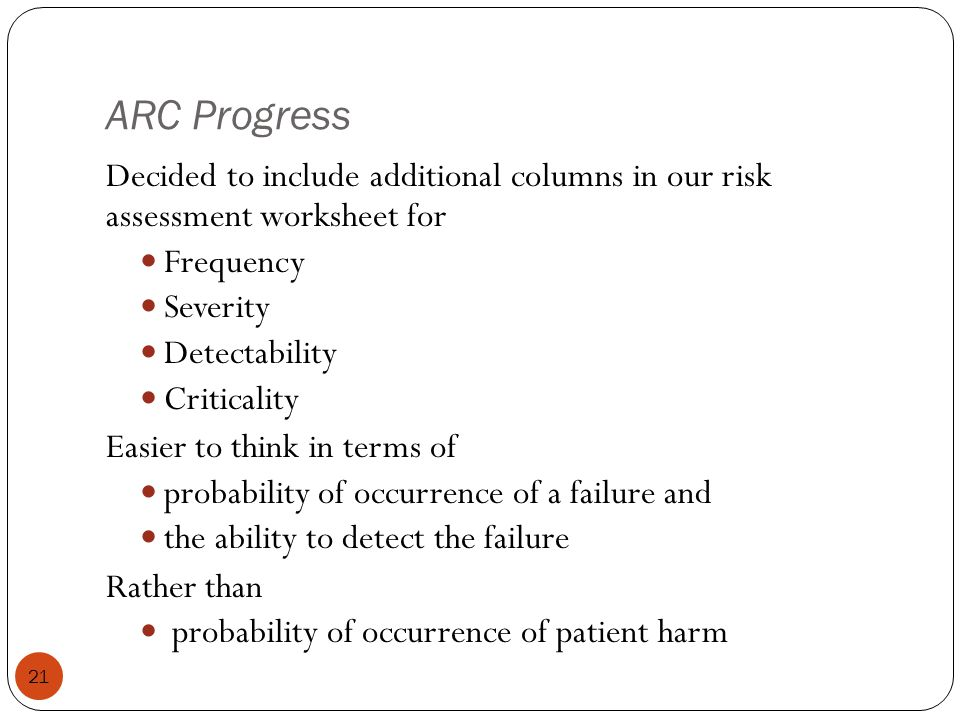 ARC Progress Decided to include additional columns in our risk assessment worksheet for. Frequency.