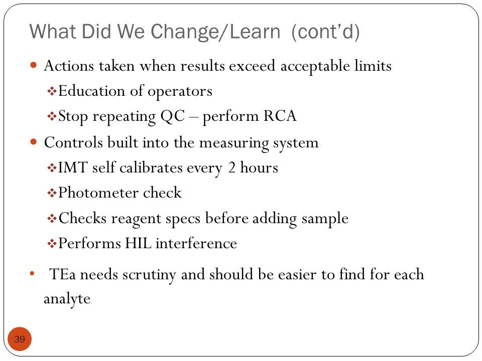 What Did We Change/Learn (cont'd)