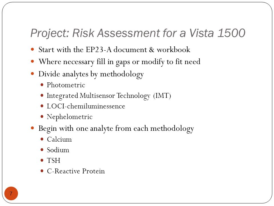 Project: Risk Assessment for a Vista 1500