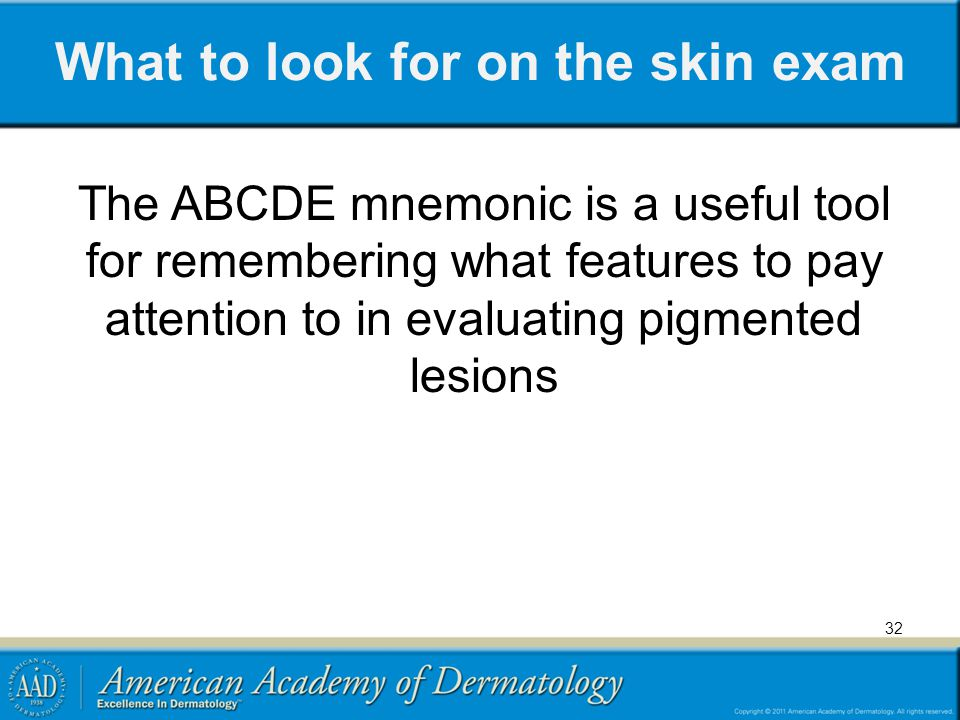 What to look for on the skin exam