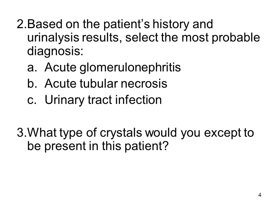 2. Based on the patient's history and urinalysis results, select the most probable diagnosis: