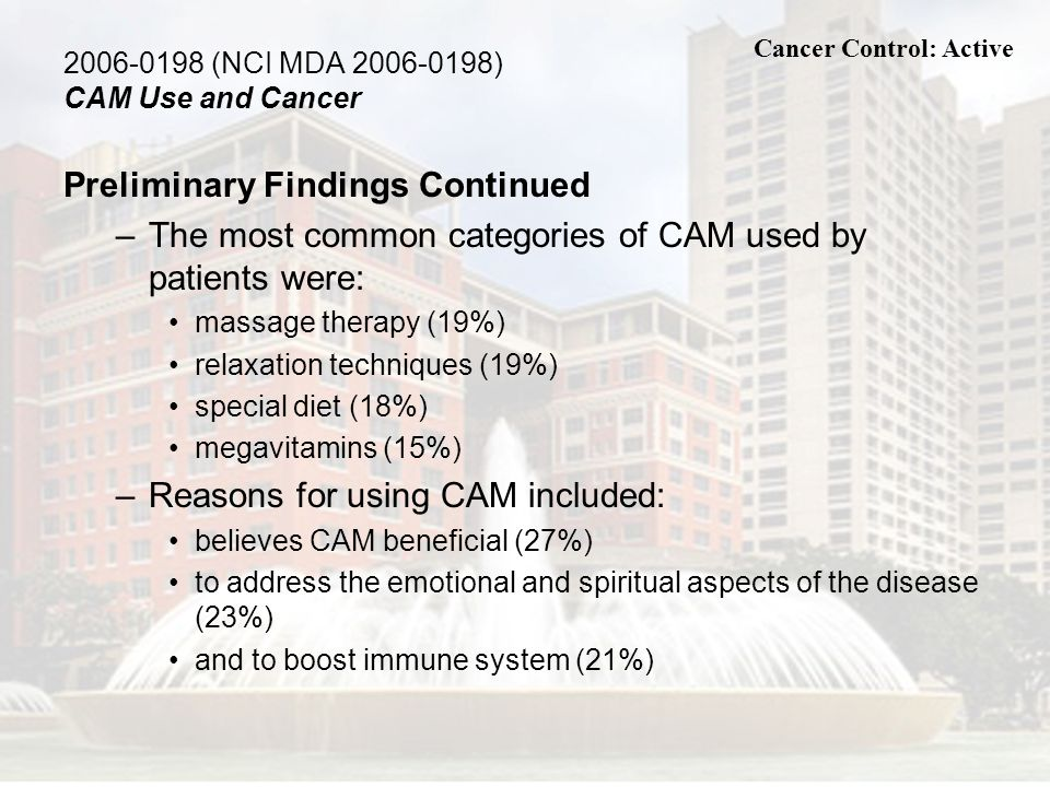 (NCI MDA ) CAM Use and Cancer