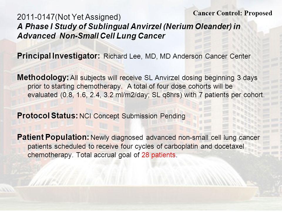 Principal Investigator: Richard Lee, MD, MD Anderson Cancer Center
