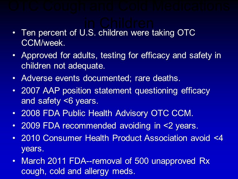 OTC Cough and Cold Medications in Children