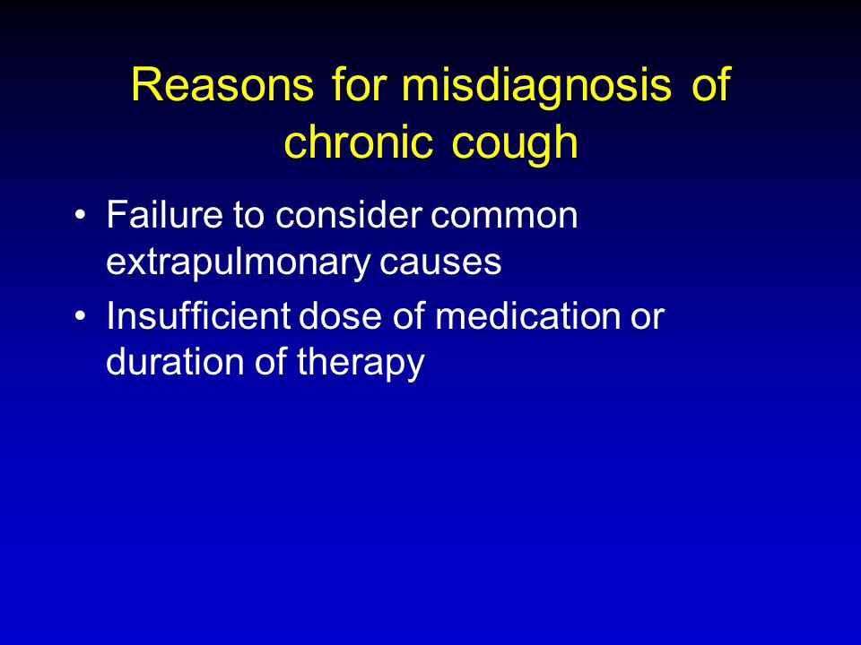 Reasons for misdiagnosis of chronic cough