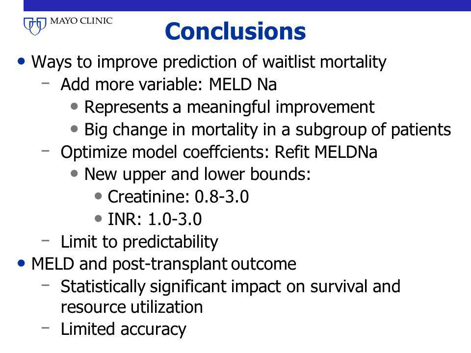 Conclusions Ways to improve prediction of waitlist mortality