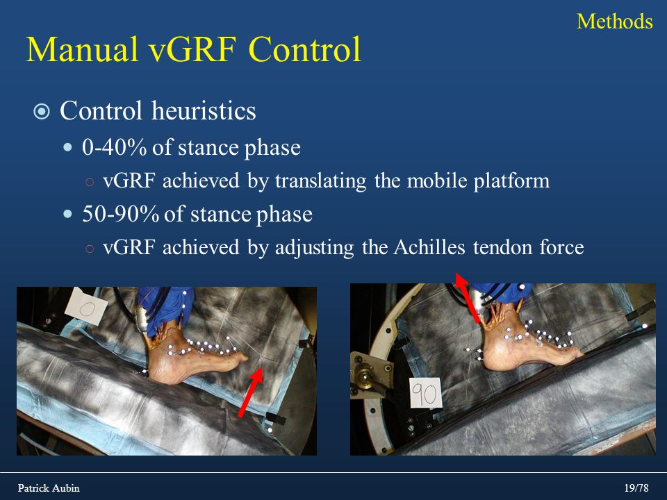 Manual vGRF Control Control heuristics 0-40% of stance phase