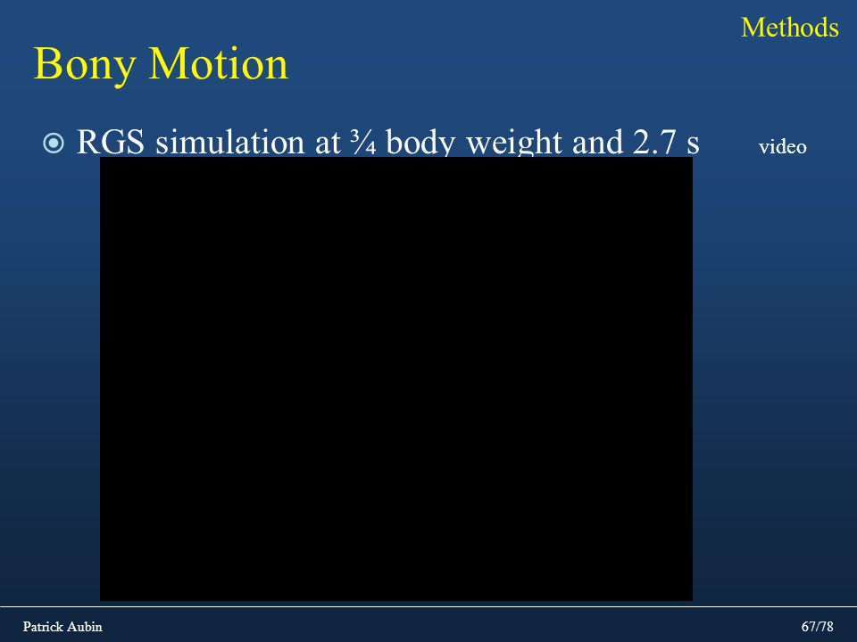 Methods Bony Motion RGS simulation at ¾ body weight and 2.7 s video