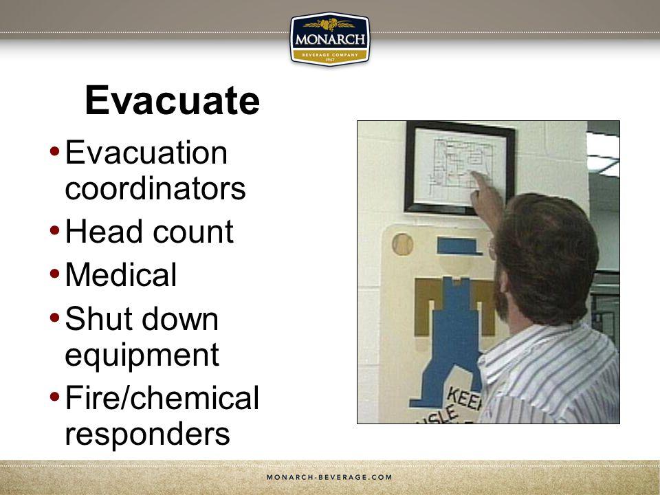 Evacuate Evacuation coordinators Head count Medical