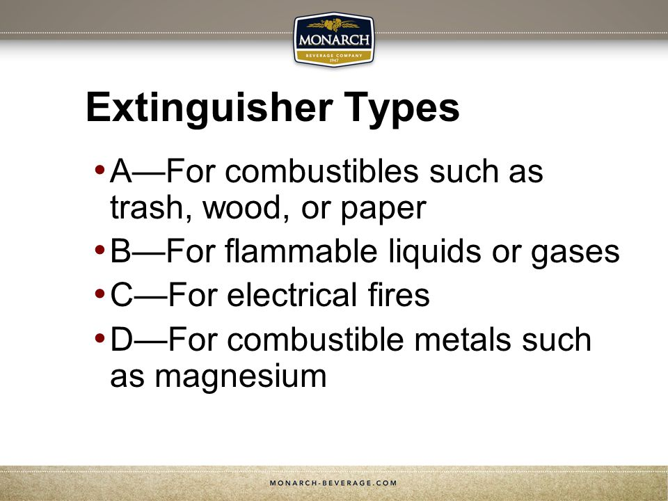 Extinguisher Types A—For combustibles such as trash, wood, or paper