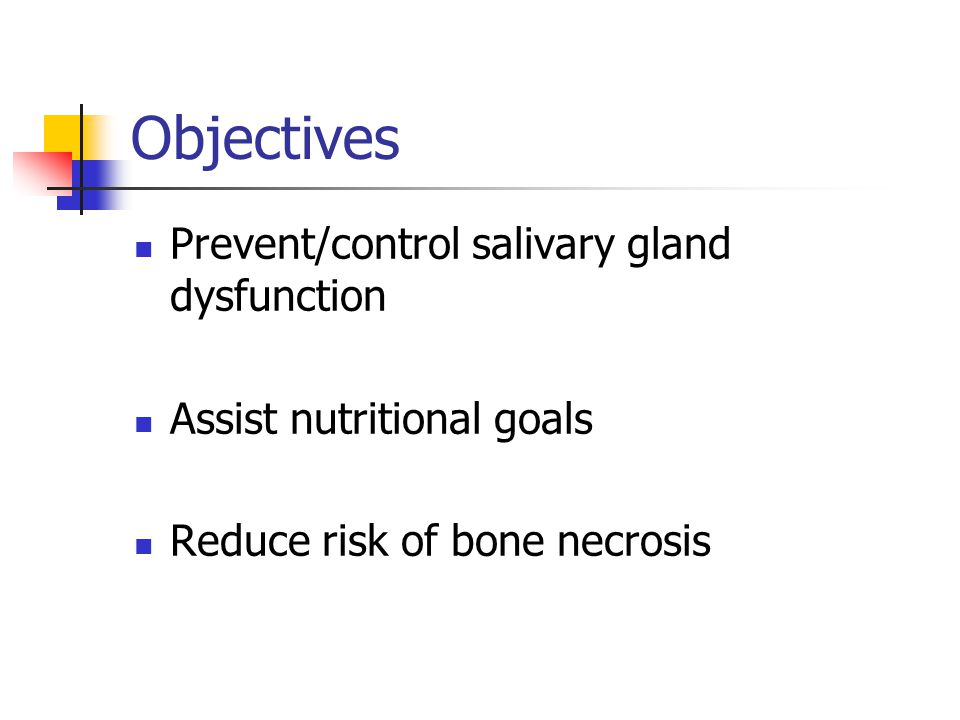 Objectives Prevent/control salivary gland dysfunction