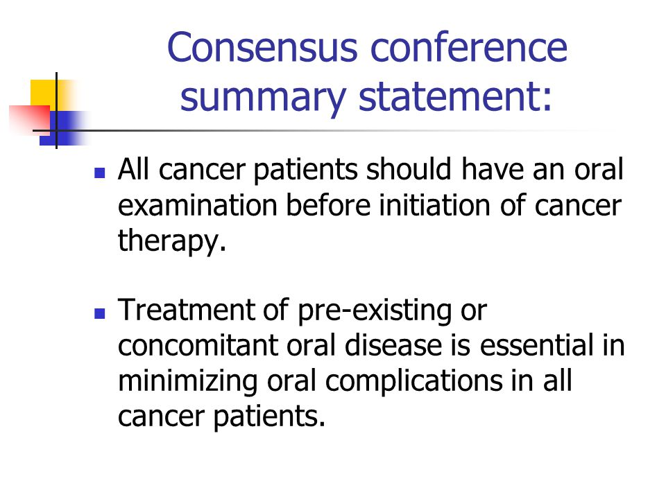 Consensus conference summary statement: