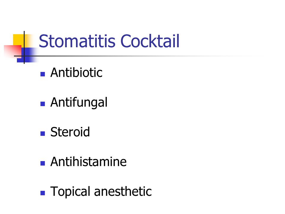 Stomatitis Cocktail Antibiotic Antifungal Steroid Antihistamine