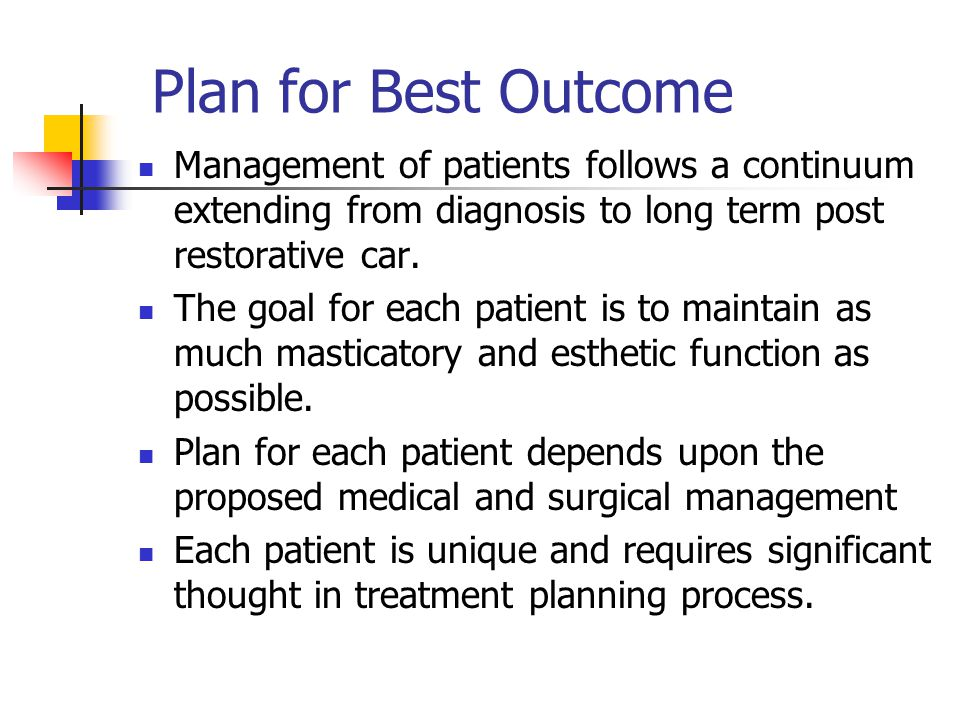 Plan for Best Outcome Management of patients follows a continuum extending from diagnosis to long term post restorative car.