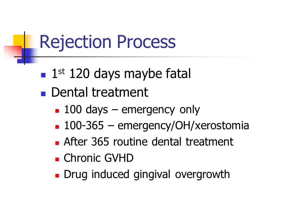 Rejection Process 1st 120 days maybe fatal Dental treatment