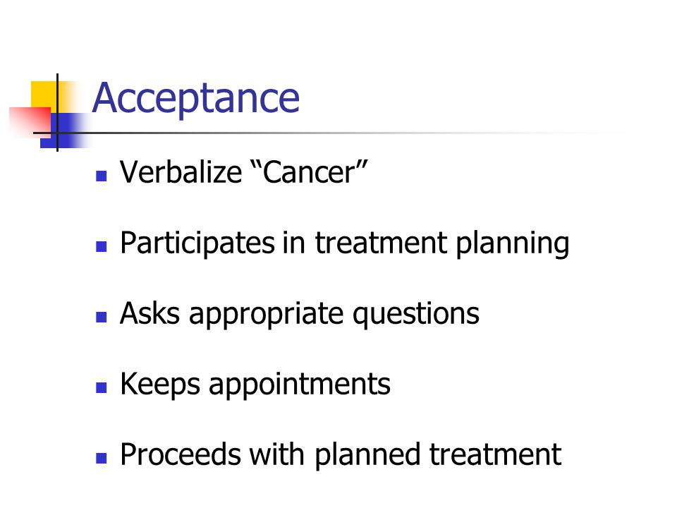 Acceptance Verbalize Cancer Participates in treatment planning
