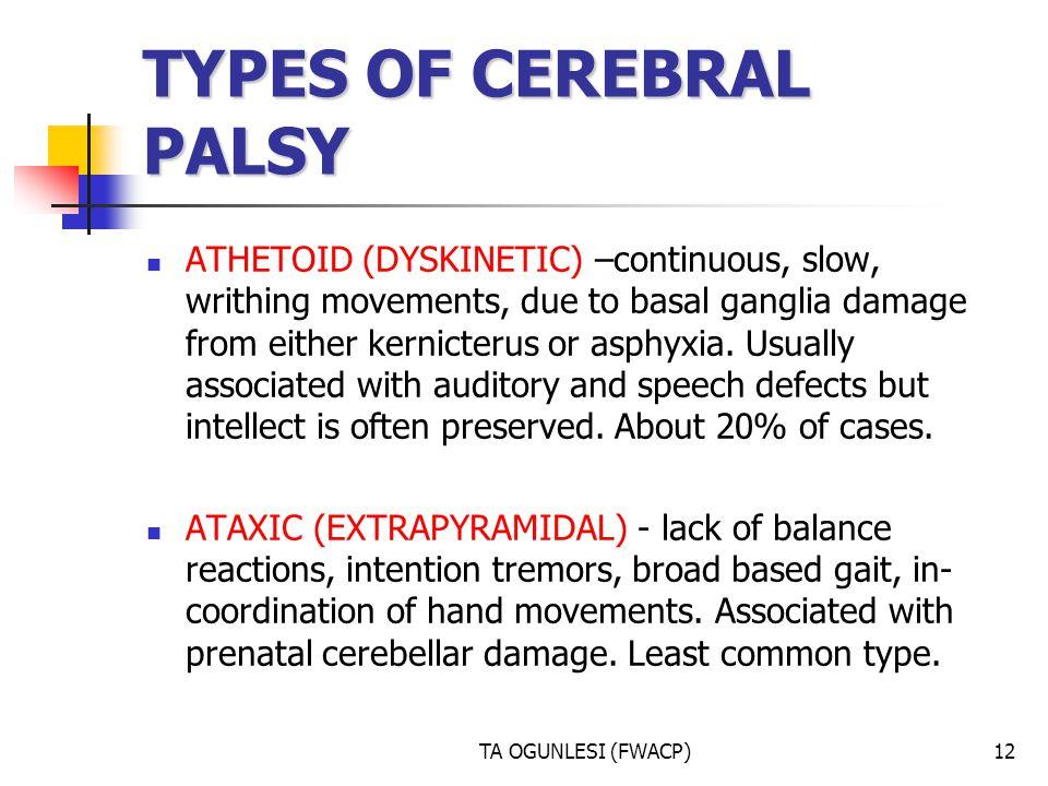 TYPES OF CEREBRAL PALSY
