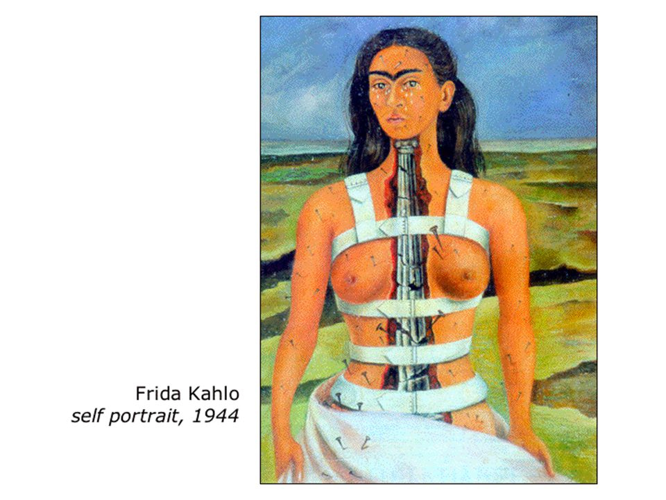 This self portrait depicts Kahloヘs despair with her neuropathic pain problem, showing a fractured spine, nails penetrating her skin, emotionless tearing, and an overall outlook of hopelessness.ハ The backdrop is barren and desolate, purportedly reflecting social isolation.