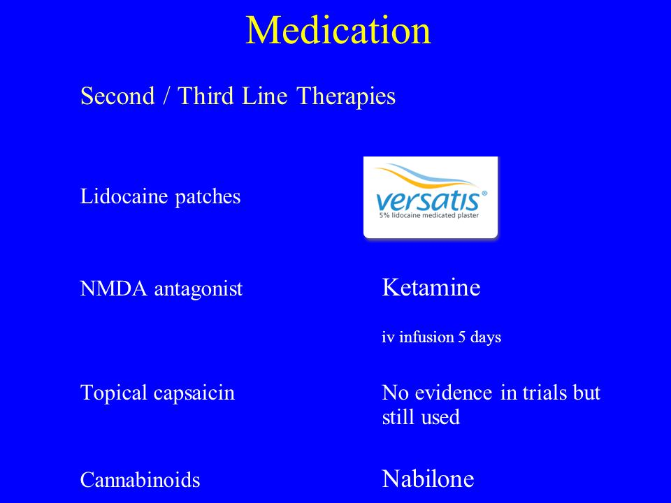 Medication Second / Third Line Therapies Lidocaine patches