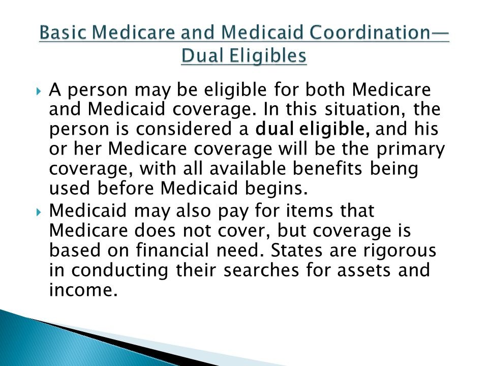 Basic Medicare and Medicaid Coordination—Dual Eligibles