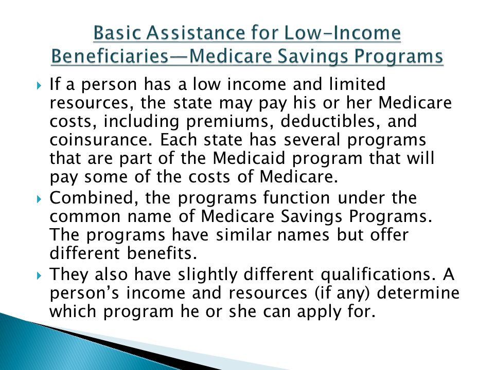Basic Assistance for Low-Income Beneficiaries—Medicare Savings Programs