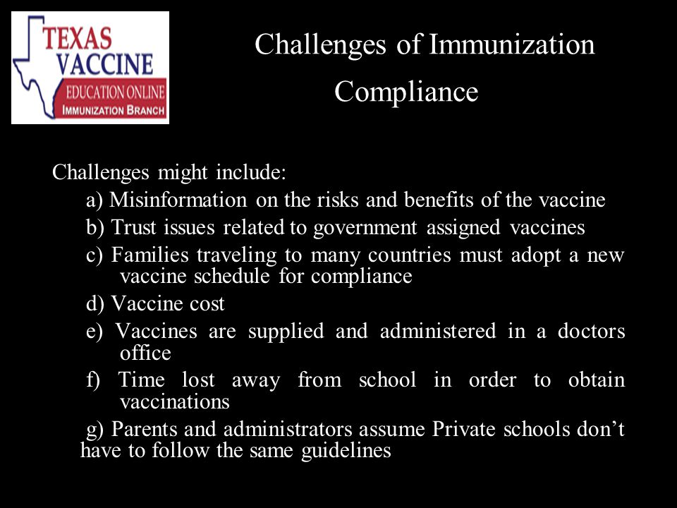 Challenges of Immunization Compliance