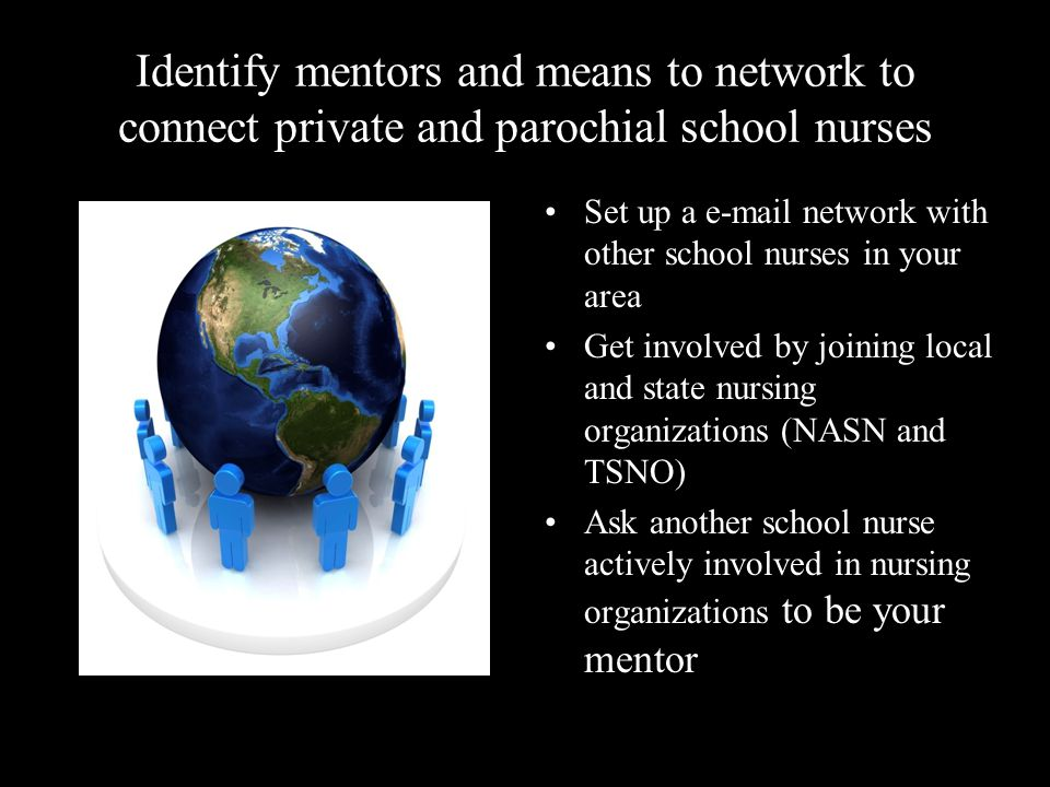Identify mentors and means to network to connect private and parochial school nurses