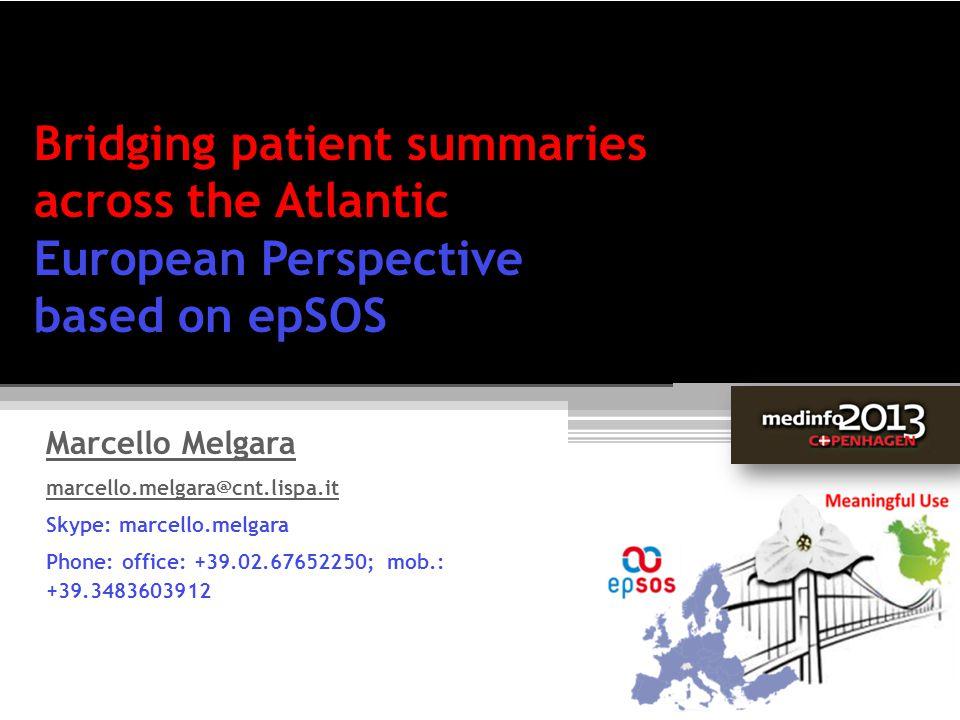 Bridging patient summaries across the Atlantic European Perspective based on epSOS