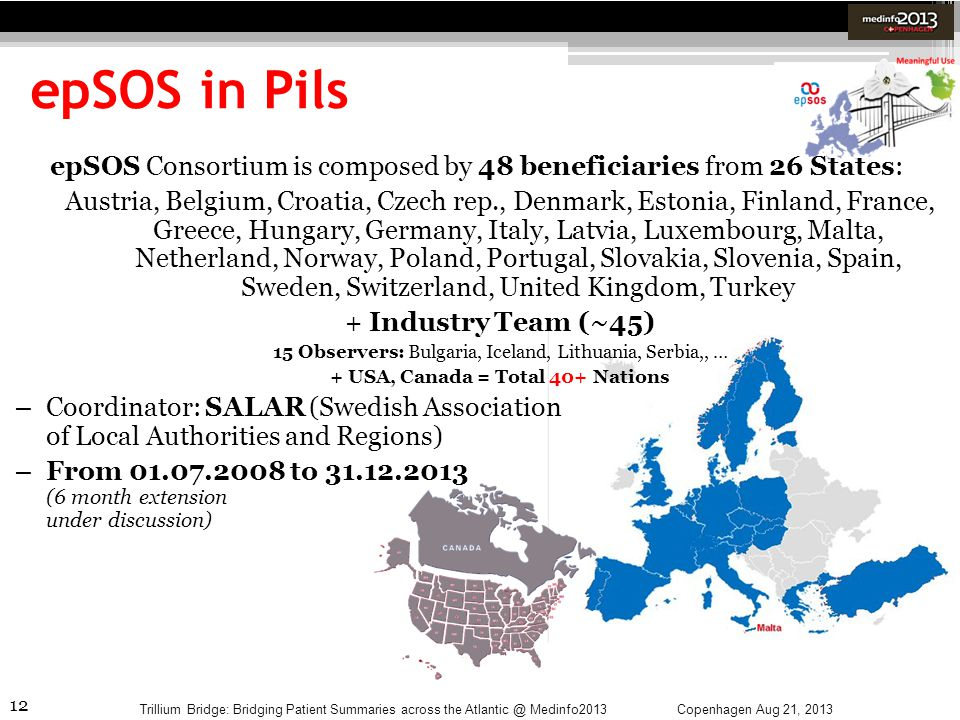 epSOS in Pils epSOS Consortium is composed by 48 beneficiaries from 26 States: