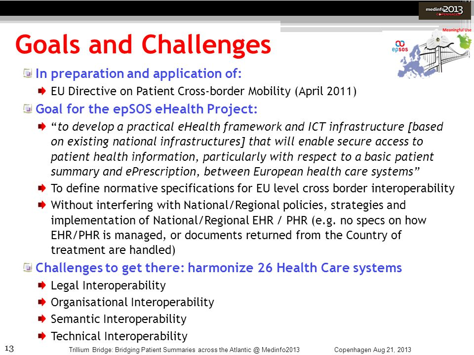 Goals and Challenges In preparation and application of: