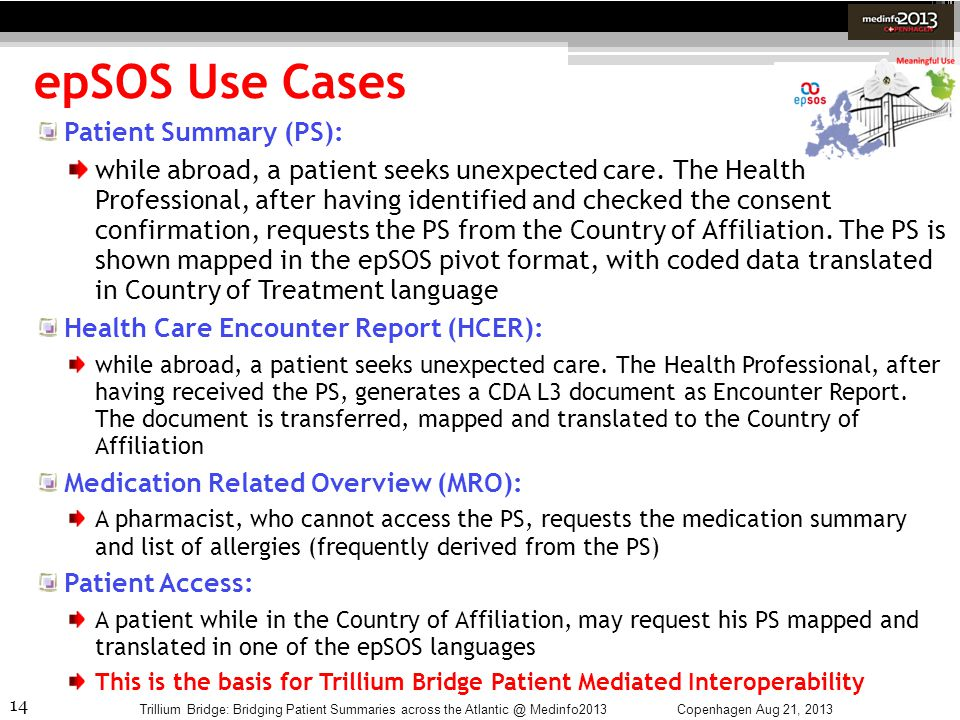 epSOS Use Cases Patient Summary (PS):