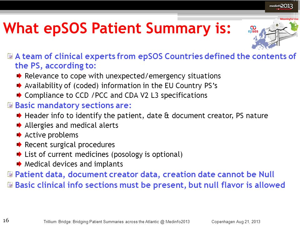 What epSOS Patient Summary is: