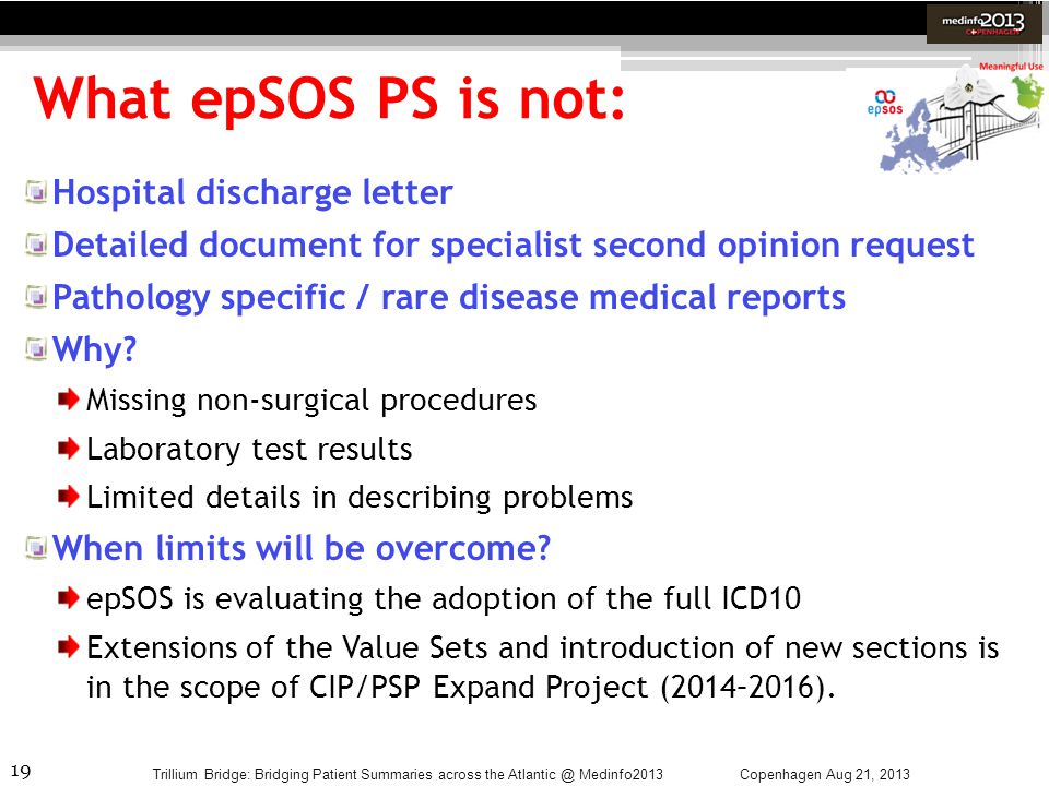 What epSOS PS is not: Hospital discharge letter