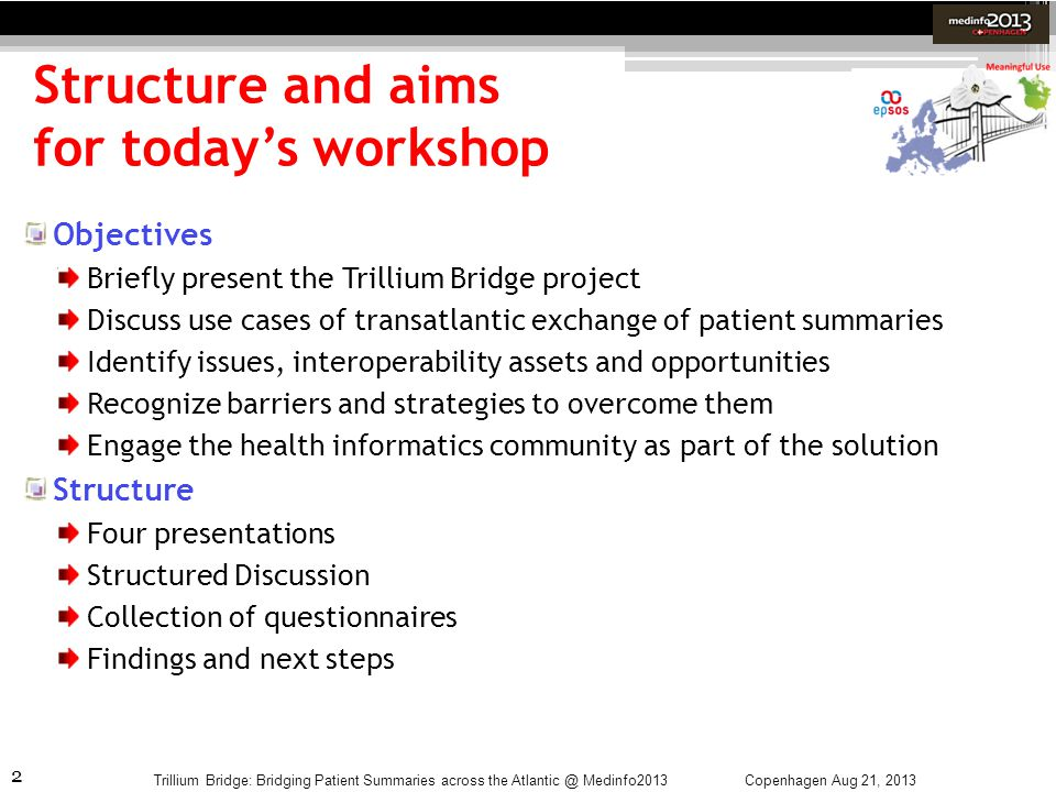 Structure and aims for today's workshop