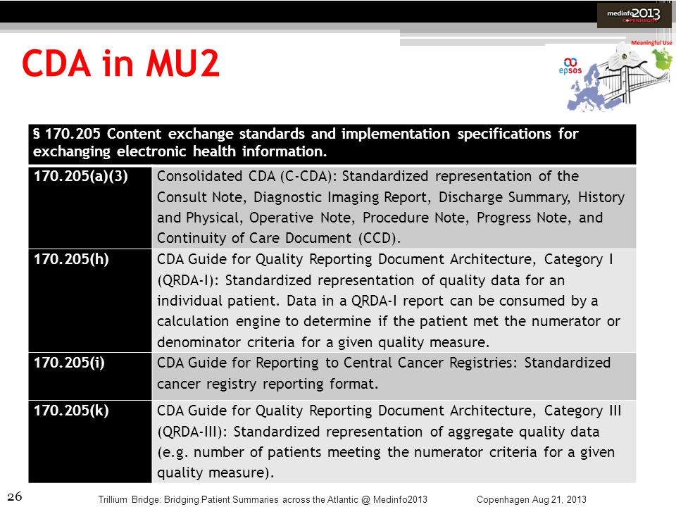 CDA in MU2 § 170.205 Content exchange standards and implementation specifications for exchanging electronic health information.