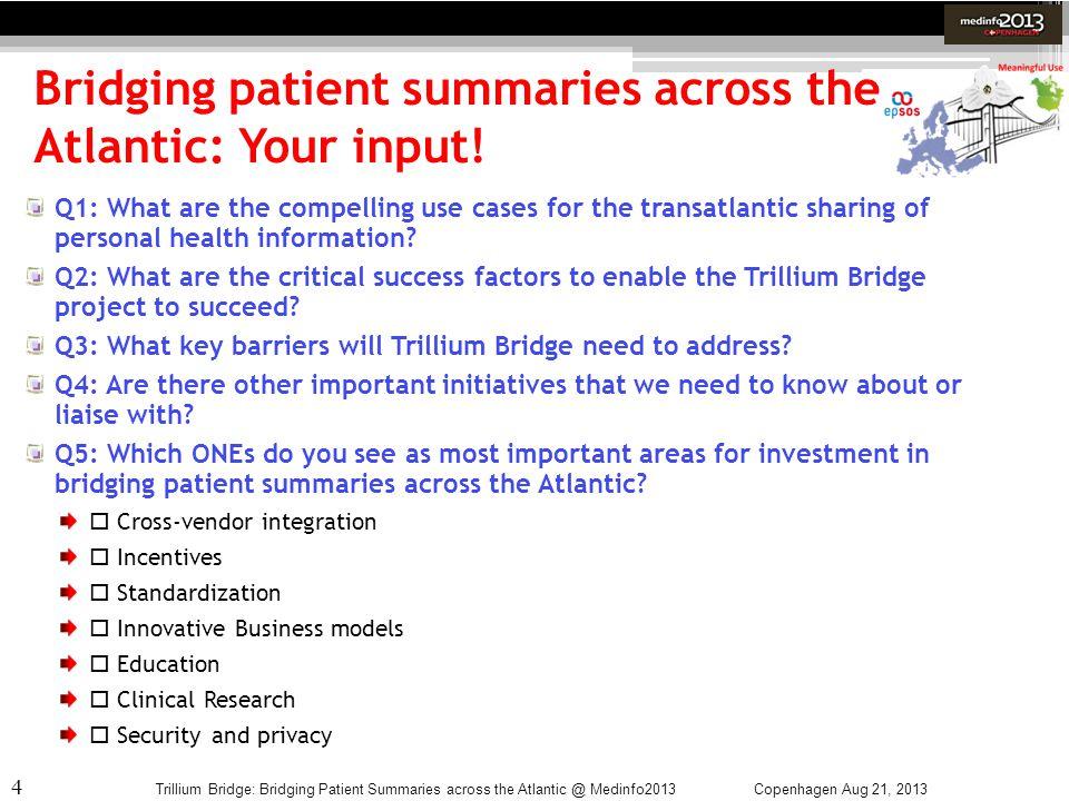 Bridging patient summaries across the Atlantic: Your input!