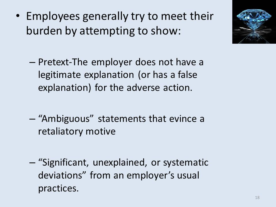Employees generally try to meet their burden by attempting to show: