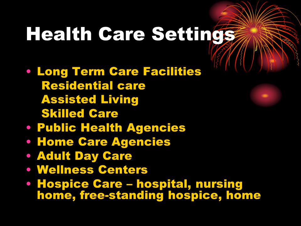 Health Care Settings Long Term Care Facilities Residential care