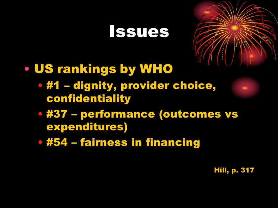 Issues US rankings by WHO