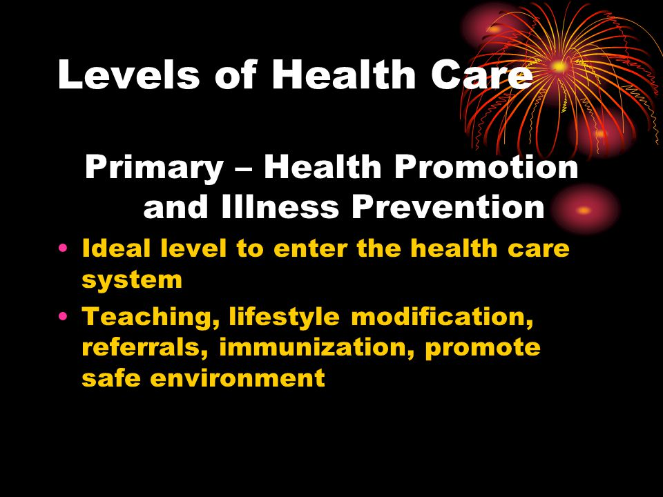Primary – Health Promotion and Illness Prevention