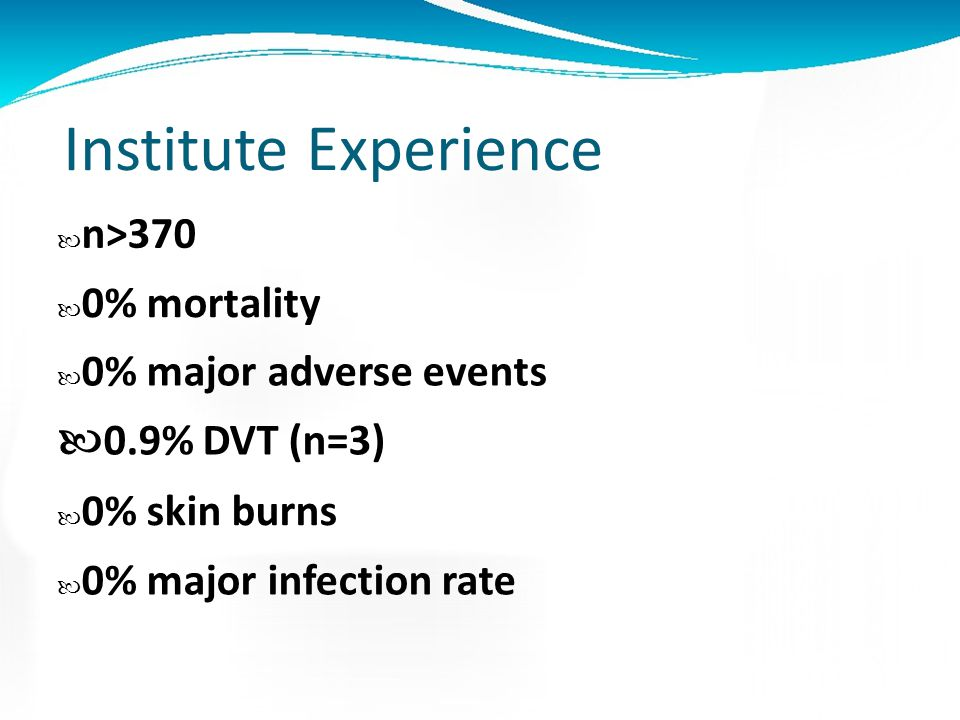 Institute Experience n>370 0% mortality