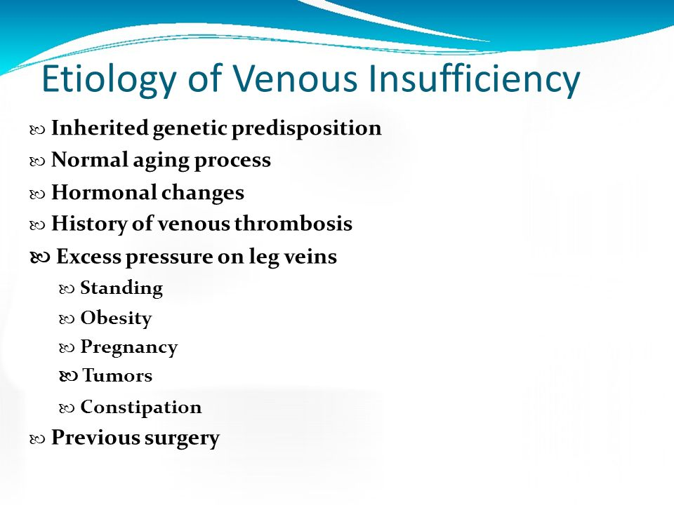 Etiology of Venous Insufficiency
