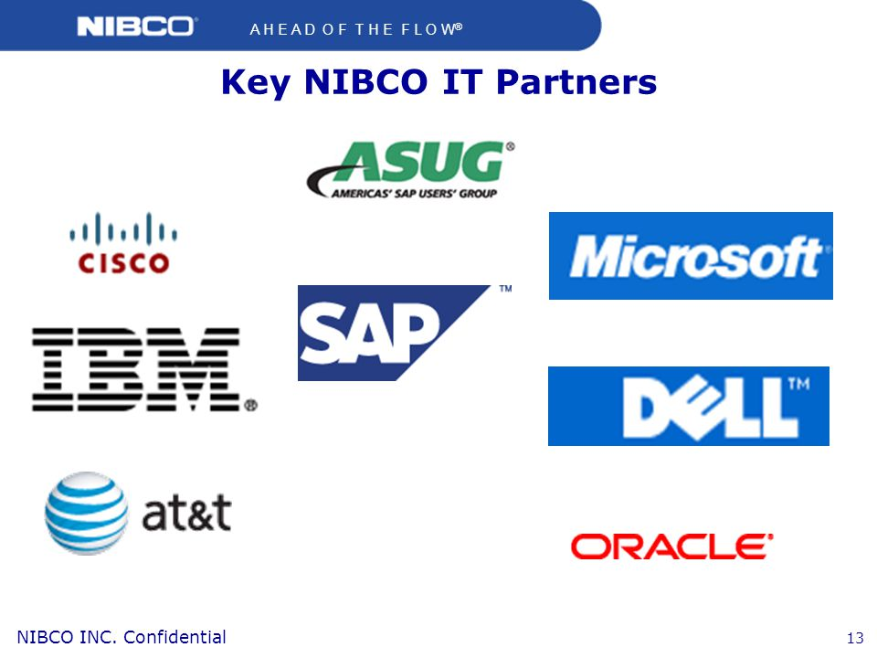 Key NIBCO IT Partners Key IT partnerships that have been established over the last 10 years at NIBCO.